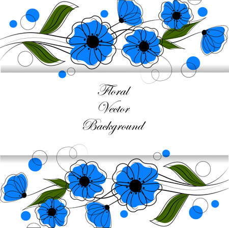 Beautiful pattern with blue flowers and circles. Floral vector background for use in your design.