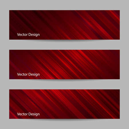 horisontal: Set of horizontal banners. Abstract red striped background. Business, science, medicine and technology design.