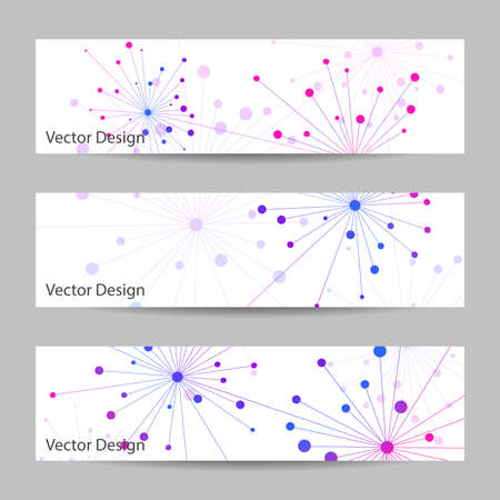 Set of horizontal banners. Abstract geometric background with connected lines and dots.  Vector illustration. Çizim