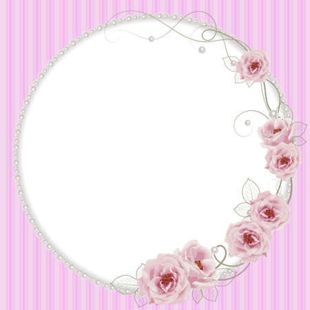 Delicate frame with roses and pearls on pink striped background for greeting card or invitation design.