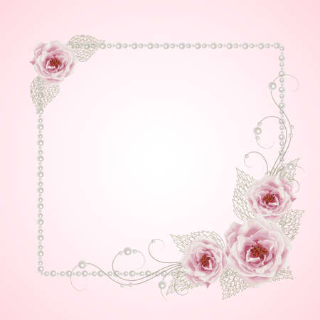 openwork: Beautiful square frame with roses and pearls on pink background for greeting card or invitation design.