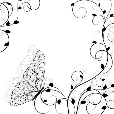 twine: Beautiful natural background with buttetfly sitting on twine plant. Vector illustration in black and white style.