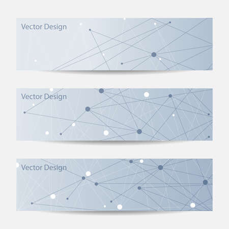 medical research: Set of horizontal banners. Abstract geometric background with connected lines and dots. Vector illustration.