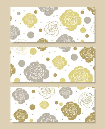 flower banner: Set of horizontal banners. Floral pattern with colored roses and circles isolated on white background.