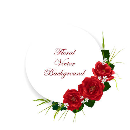 Floral vector background. Corner composition of roses, white flowers, green leaves and herbs. White round banner with place for your text. Imagens - 58135468
