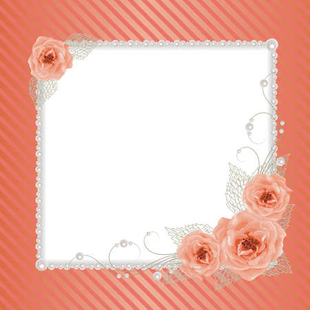 openwork: Beautiful square frame with roses and pearls on striped background for greeting card or invitation design. Illustration