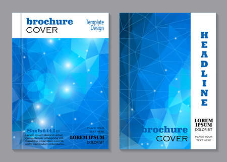 medicine background: Modern vector templates for brochure cover in A4 size. Blue polygonal mosaic background. Business, science, medicine and technology design. Illustration
