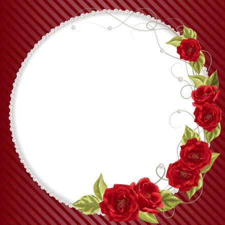 Marco delicado con las rosas y perlas en el fondo de rayas rojas para la tarjeta de felicitación o diseño de la invitación.