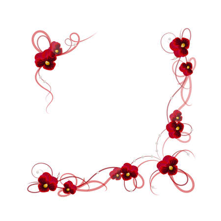red swirl: Floral vector background. Corner frame with pansy flowers, ribbons and pearls for use in your design.