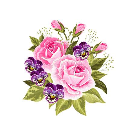 Hermoso ramo de rosas de color rosa y púrpura pensamientos aislados en blanco.