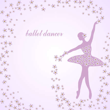 Tender ballerina in floral frame. Vector illustration.