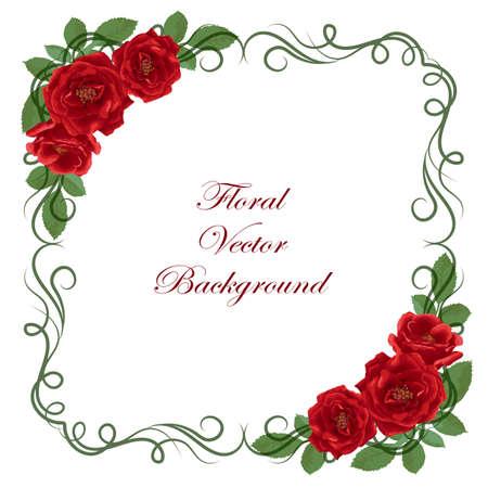 Floral Vektor Hintergrund mit Vintage-Rahmen und Rosen für den Einsatz in Ihrem Design. Vektor-Illustration.