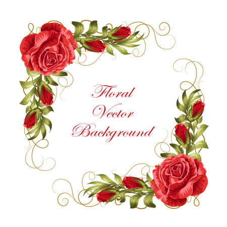 Beautiful frame with red roses and green leaves. Vector illustration isolated on white background.