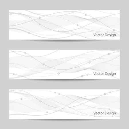 pearls and threads: Set of horizontal banners with gray stripes, veil and pearls on white background for use in your designt.