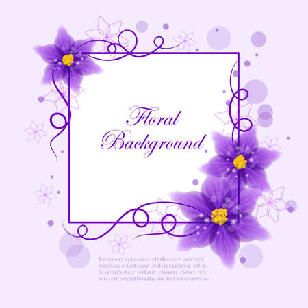 violet flowers: Floral vector background with beautiful violet flowers and circles for use in your design. Vector illustration. Illustration