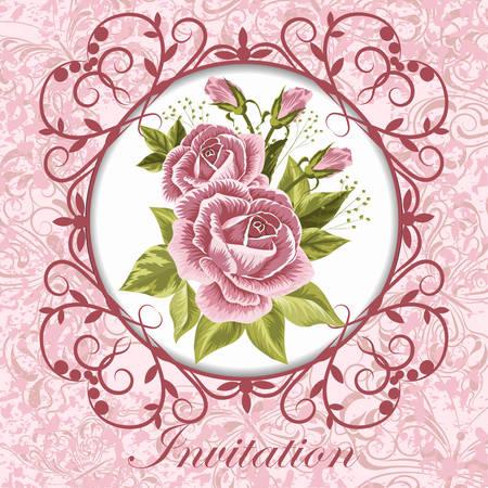 Ilustración vectorial de una hermosa rosas rosadas en marco de la vendimia para las invitaciones y tarjetas de cumpleaños.