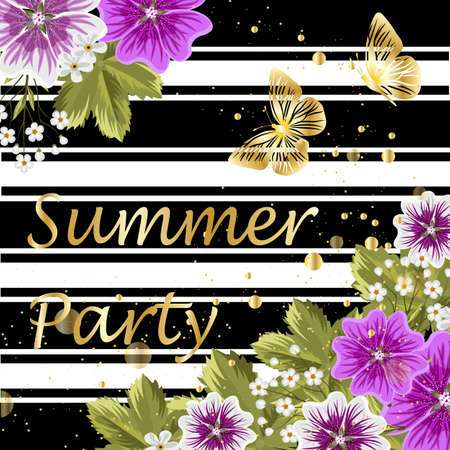 buttefly: Purple flowers on striped background. Gold lettering writing. Invitation to a party.