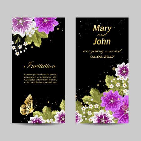 Set of wedding invitation cards design. Beautiful purple flowers on dark background. Vector illustration. Illustration