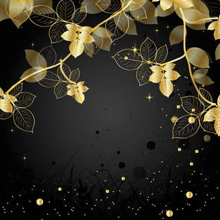gilding: Beautiful natural background with silhouette of branch. Gold illustration on dark background.