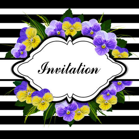 blue stripe: Vintage frame with beautiful pansies on striped background. Illustration