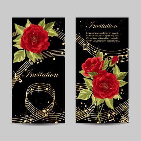 Set of wedding invitation cards design. Beautiful red roses and gold music notes on dark background. Vector illustration.