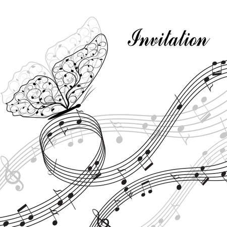bass clef: elementos de diseño musicales con clave de sol, notas y mariposa en estilo blanco y negro. Ilustración del vector aislado en el fondo blanco.