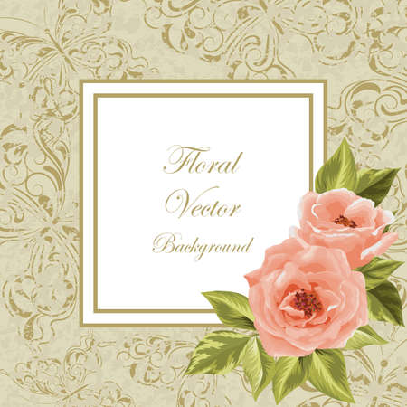 old frame: Beautiful flowers for invitation card. Vintage frame with butterflies. Vector illustration. Illustration