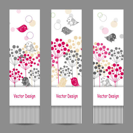 vertical divider: Set of vertical banners. Natural abstract background. Vector illustration.