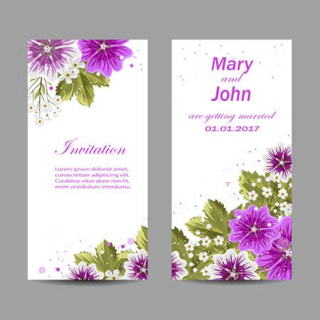 Set of wedding invitation cards design. Beautiful purple flowers on white background. Vector illustration.