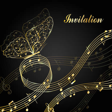 clef: Musical design elements with treble clef, notes and butterfly in black and white style. Vector Illustration isolated on white background.