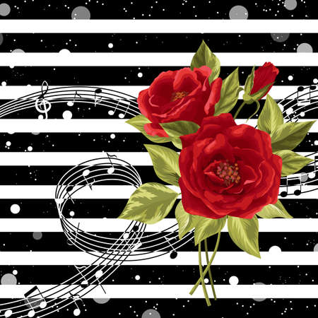 Vector illustration with music notes and red rose flowers on striped background. Ilustração