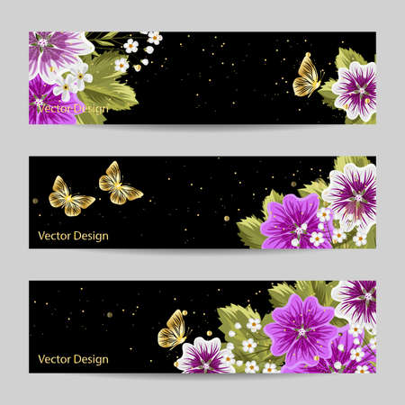 Set of horizontal banners. Purple flowers and gold butterflies on black background.