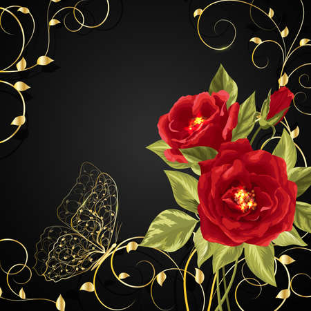 twine: Beautiful bouquet of red roses with gold buttetfly sitting on twine plant. Vector illustration on black background. Illustration