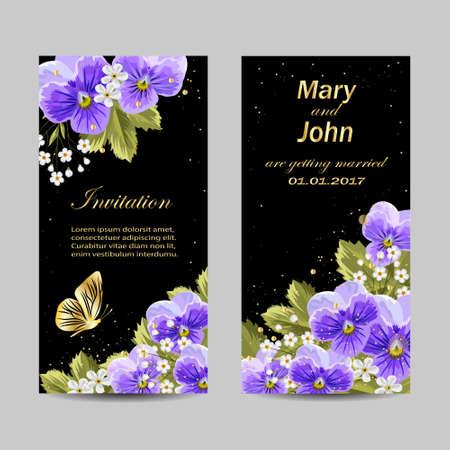 Set of wedding invitation cards design. Beautiful pansy flowers on dark background. Vector illustration.