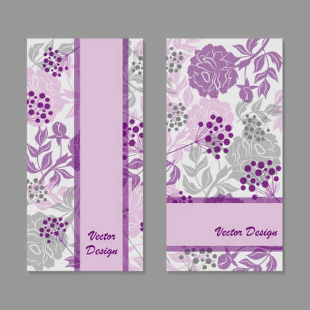 vertical divider: Set of vertical banners. Vloral vector background with colored peonies and berries. Illustration