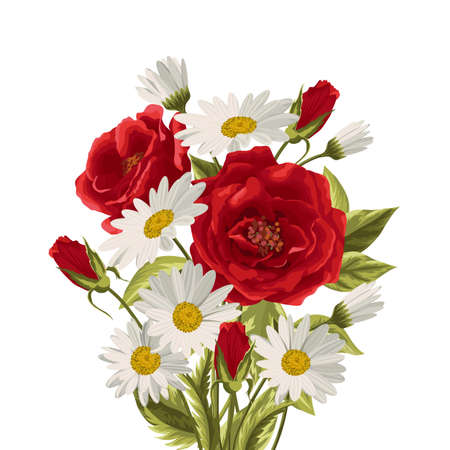Beautiful white daisies and red roses on white background. Floral vector background. Çizim
