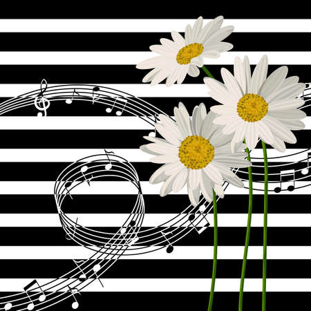 Vector illustration with music notes and daisies on striped background.