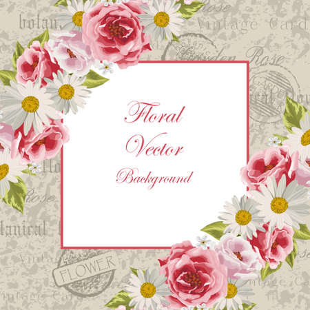 Vector Illustration Of A Beautiful Vintage Frame With Flowers
