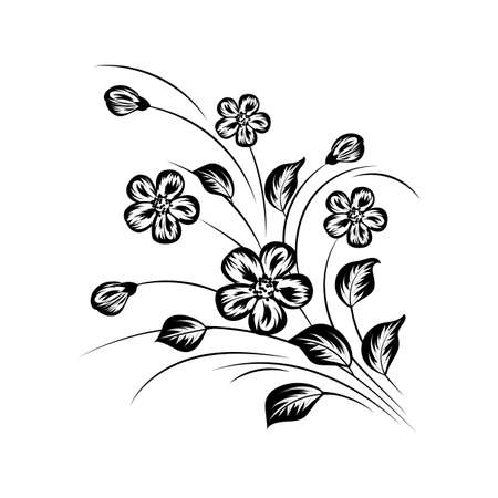 simple: Simple floral background in black and white colors.