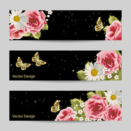 Set of horizontal banners. Beautiful flowers and gold butterflies on black background.