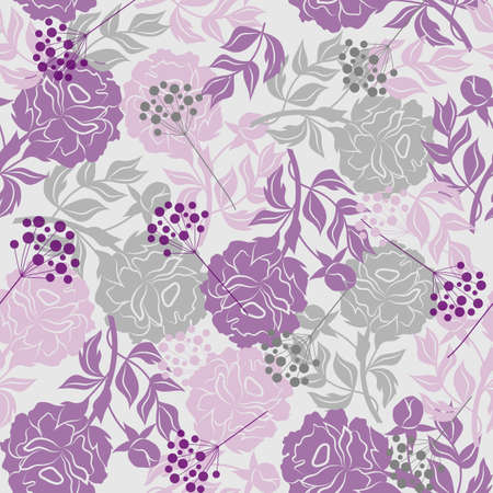 silhoette: Beautiful seamless pattern with colored silhouettes of flowers and berries. Vector illustration.