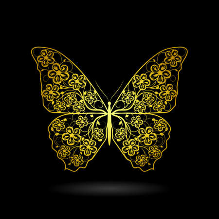 Yellow butterfly with floral pattern on dark background.