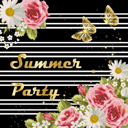 Beautiful flowers and gold butterflies on striped background. Gold lettering writing. Invitation to a party. Illustration