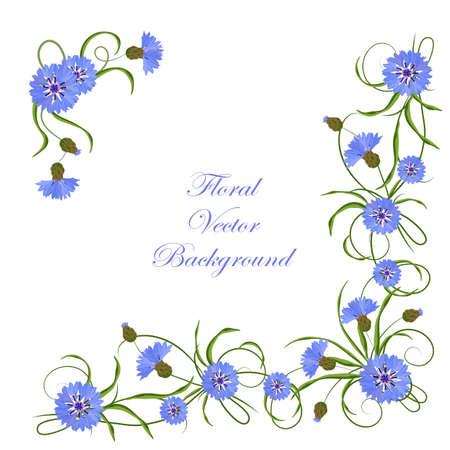 Composizione angolare con fiordalisi blu e foglie verdi. Vettoriale illustrazione isolato su sfondo bianco.