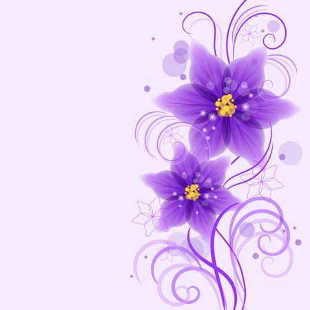 Floral vector de fondo con hermosas flores de color violeta para uso en su diseño. Ilustración del vector.