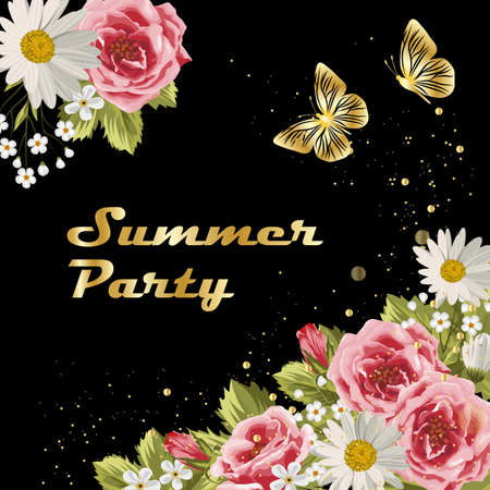 Beautiful flowers and gold butterflies on dark background. Gold lettering writing. Invitation to a party.
