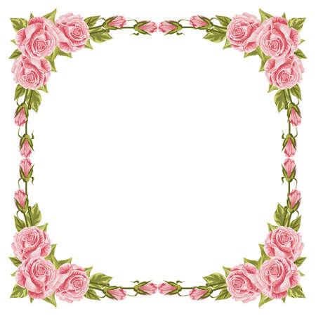 Hermoso marco con rosas y hojas verdes.