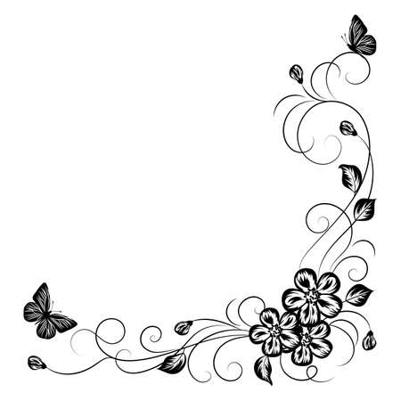 butterfly flower: Simple floral background in black and white style.