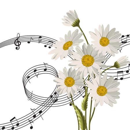Vector illustration with music notes and daisy flowers isolated on white background. Illustration