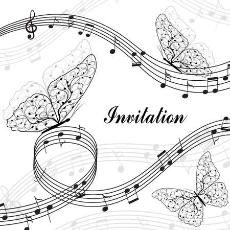 trill: Musical design elements with treble clef, notes and butterflies in black and white style. Vector Illustration isolated on white background.